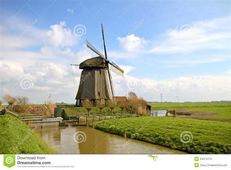 traditional windmills  dutch landscape stock image