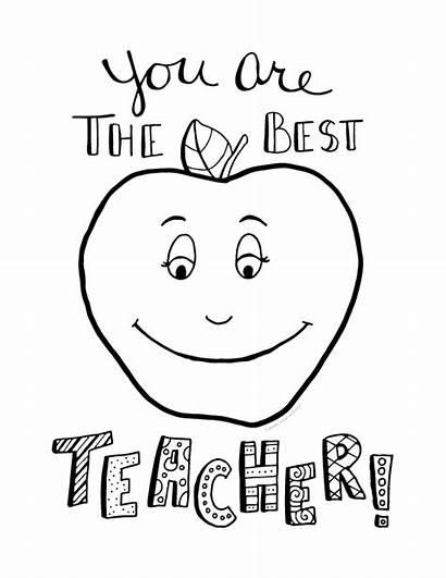 Teacher Coloring Appreciation Printable Cards Teachers Sheets