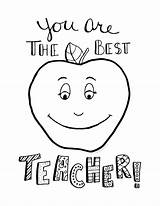 Teacher Coloring Appreciation Printable Week Apple Emilie sketch template