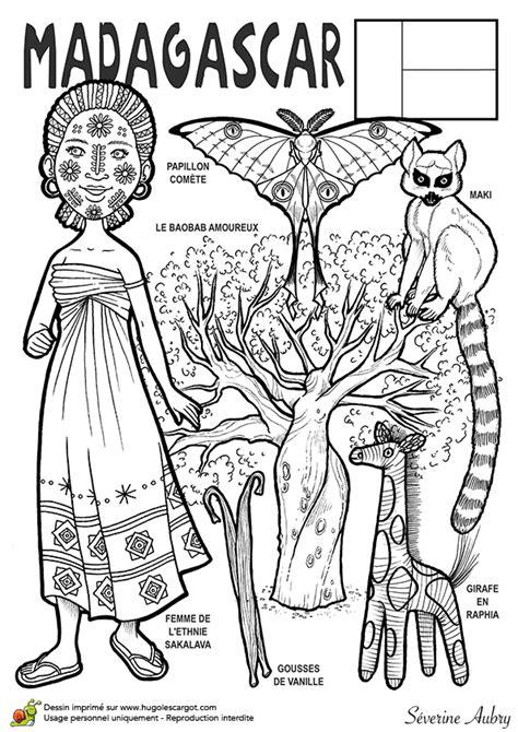 Dessin à Colorier D'un Pays Du Monde, Madagascar