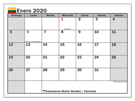 calendario enero colombia michel zbinden es