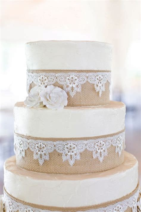 Burlap And Lace Wedding Cake Wedding Cakes Pinterest