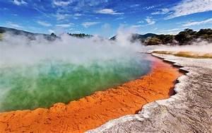 Landscape Lake Rotaura In New Zealand Hot Geysers Green Water Vapor Desktop Wallpaper