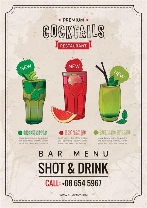 bar drink menu design template  psd word publisher