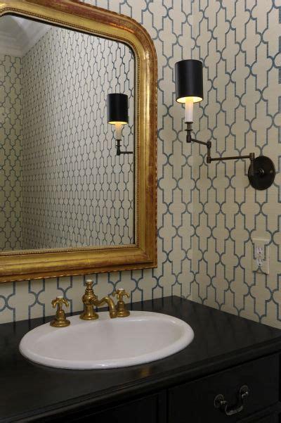 moorish tile wallpaper transitional bathroom
