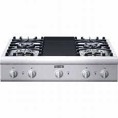"""Pcg364gd  Thermador Professional 36"""" Gas Rangetop, 4 Burners, Griddle"""