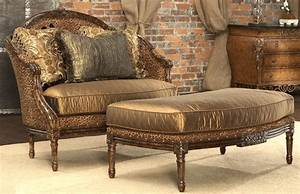 Leopard print settee luxury fine home furnishings and for Animal print furniture home decor