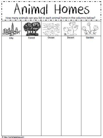 animal homes worksheet worksheets