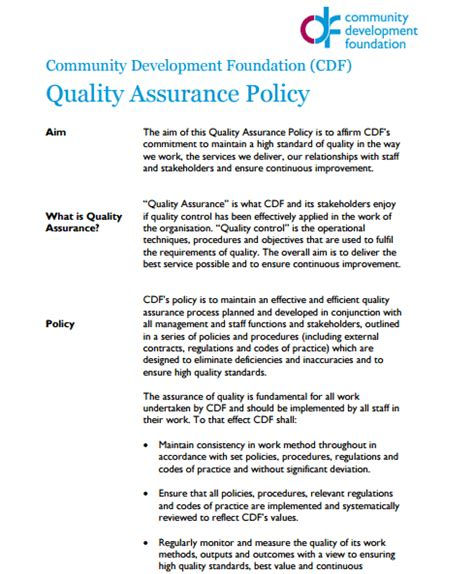 quality assurance policy templates word excel samples