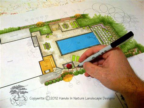 how to draw a landscape design plan landscape designer working hard on a pool landscape plan