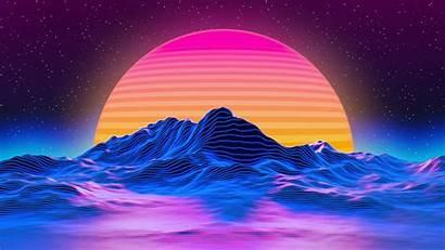 Retrowave Sun Star Mountains Lines Estrellas Sol