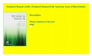 Technical Manual  Aabb   Technical Manual Of The American