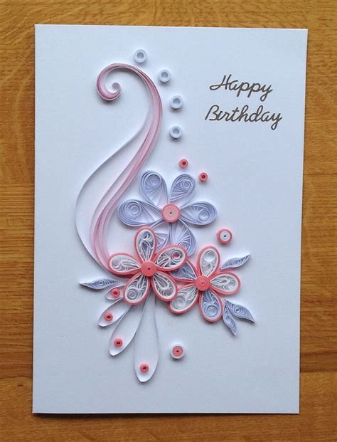 quilling pink  white birthday card  images