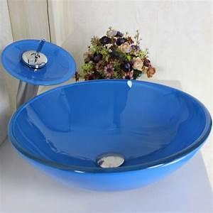 Waschbecken Glas Rund : blau rund glas waschbecken wasserfall armatur set ~ Markanthonyermac.com Haus und Dekorationen