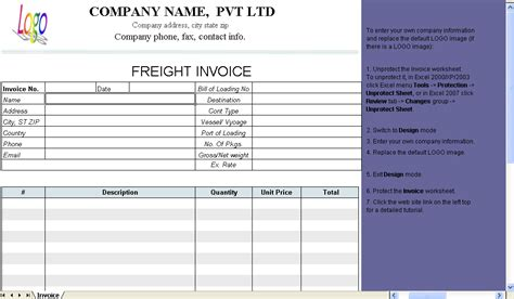 freight invoice template invoice manager  excel