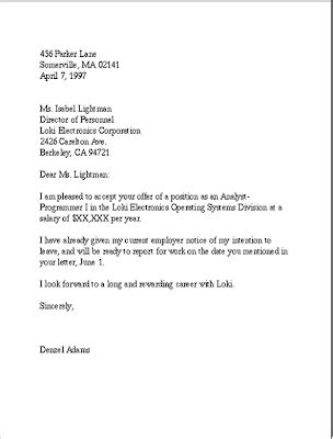 business  english      acceptance letter