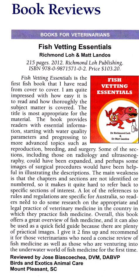Exotic Vet Care's Dr Biascoechea Reviews Fish Vet Book