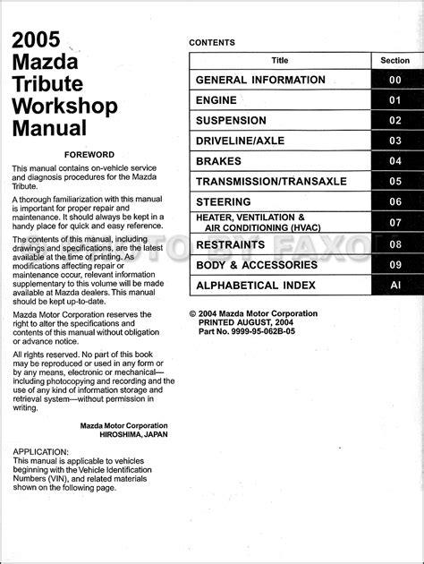 how to download repair manuals 2009 mazda tribute auto manual 2005 mazda tribute repair shop manual original