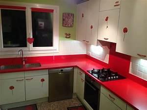 Cuisine rouge plan de travail for Plan de travail cuisine rouge