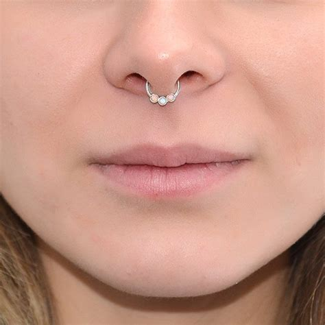 2mm Opal Septum Jewelry Silver 18g / Nipple Ring Nose Ring