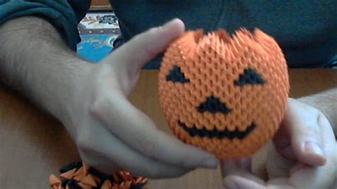 How To Make 3d Origami Halloween Pumpkin Youtube