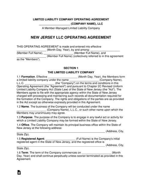 jersey multi member llc operating agreement form