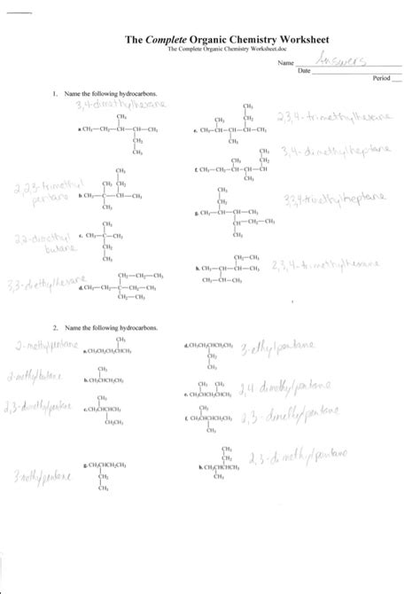complete organic chemistry worksheet answers