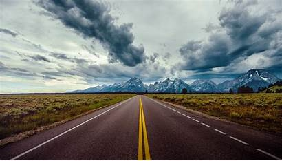 Road Horizon Sky Mountains Clouds Field Wallpaperup