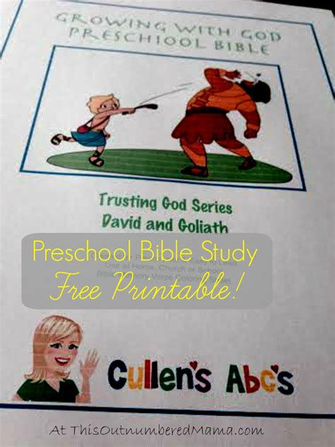 free printable cullen s abc s david and goliath bible study 849 | Free Printable Preschool Bible Study