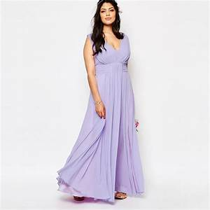 plus size v neck lilac chiffon bridesmaid dresses long With plus size wedding party dresses