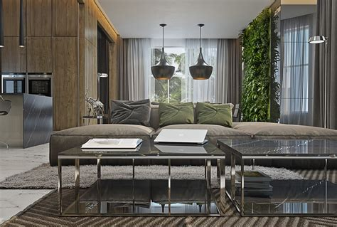 Apartement Living Room : Masculine Apartments With Super Comfy Sofas And Sleek