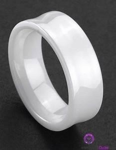 White ceramic wedding bands wedding bells pinterest for Ceramic mens wedding rings