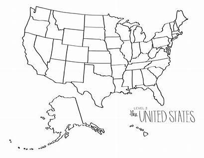 Blank Map States Printable United Usa America