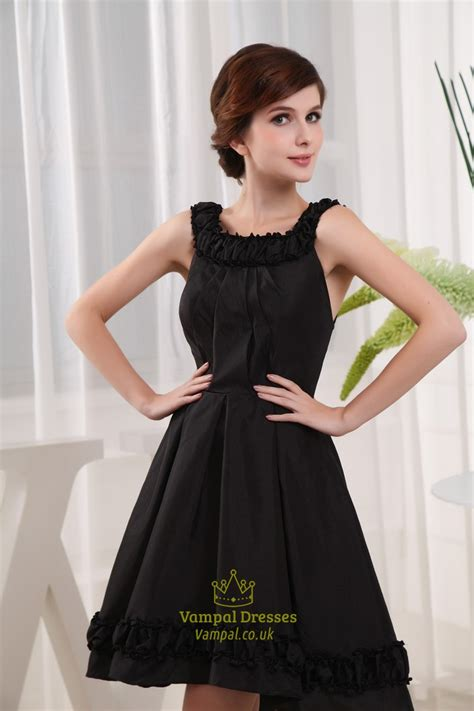 black knee length cocktail dresses scoop neck