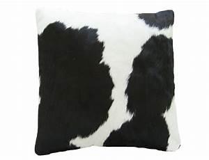 coussin en peau de vache noire et blanche double face With tapis peau de vache avec coussin de canapé 60 x 60