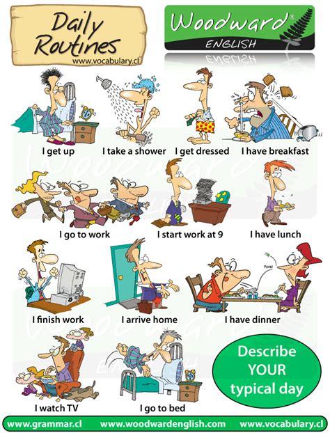 Daily Routines And Activities  English Vocabulary  Vocabulario Inglés Rutinas Diarias