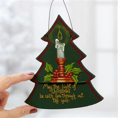 light  christmas tree sign ornament