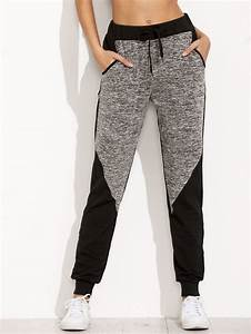 Vetement Sport Grande Taille : joggings bicolore avec poches french shein sheinside pantalon femme grande ~ Melissatoandfro.com Idées de Décoration