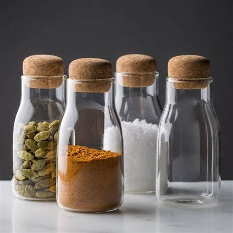 Kitchen Spice Jars Glass corky modern glass spice jars kitchen glass spice jars