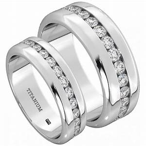His and hers titanium wedding engagement ring band set for Wedding rings his and hers sets