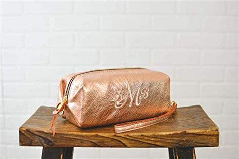 amazoncom personalized bridesmaid gift rose gold leather makeup bag cosmetic case monogram