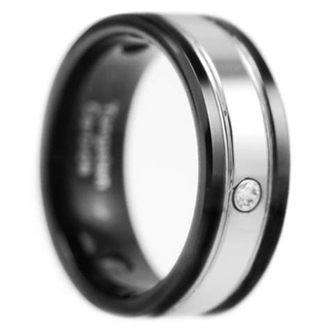 9mm black brushed silver tungsten carbide
