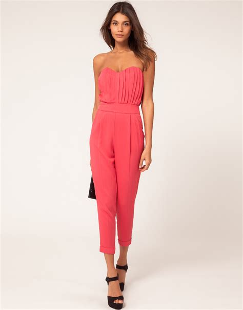 pink jumpsuits asos collection asos pleat bust jumpsuit in pink lyst
