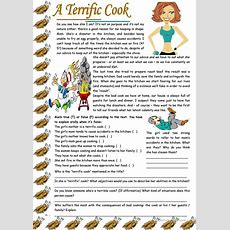 """A Terrific Cook  Reading Comprehension + Grammar (ing After Expressions With """"to Have"""") [7"""