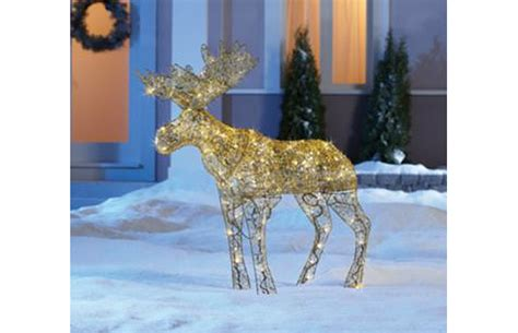 lighted outdoor christmas moose lawn and outdoor decorations