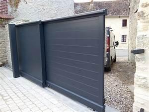 Portail Coulissant Automatique : portail coulissant automatique en aluminium gris ~ Premium-room.com Idées de Décoration