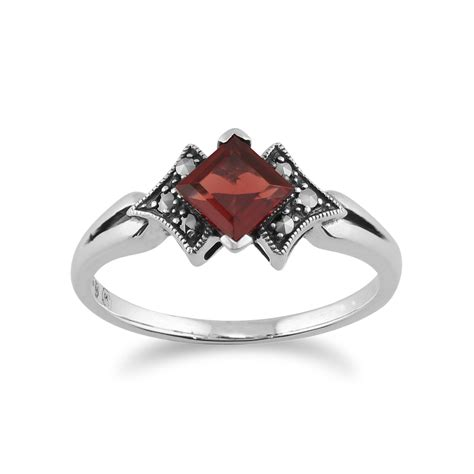 925 sterling silver deco garnet marcasite ring