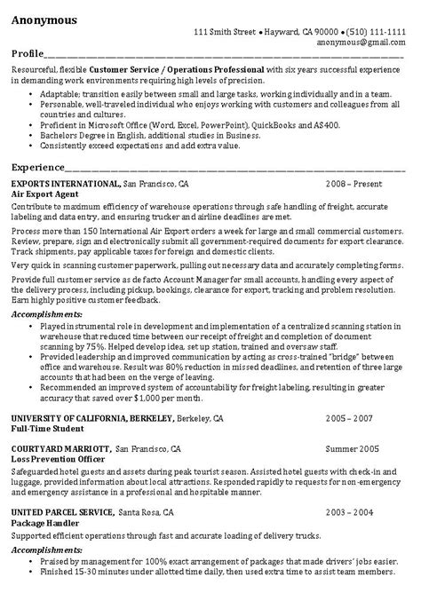 examples of professional profile on resume operations manager resume example operations professional