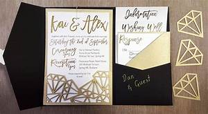 My diy story geometric black gold foil pocket for Diy wedding invitations cards and pockets
