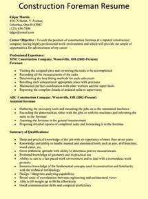 construction foreman resume exle resumes design